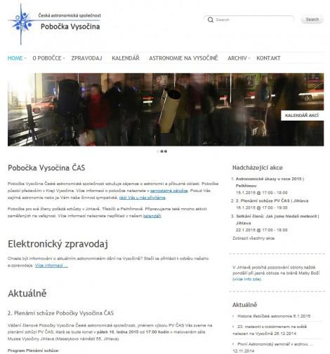 Náhled webu http://vysocina.astro.cz